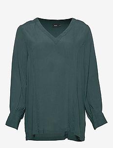 EGENNI, L/S, SMOCK BLOUSE E-C - long sleeved blouses - dark green