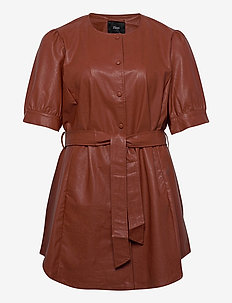 Tunic Immitation Leather Plus Size Short Sleeves - tunikaer - brown