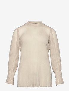 Blouse Mesh Plus Size Shimmer Smock - swetry - beige