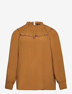 Blouse Long Sleeves Plus Size Smock - langermede bluser - dark orange