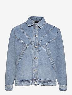 Denim Jacket Plus Size Buttons Collar - jeansjacken - blue