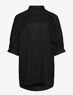 Tunic Puff Sleeves Plus Size Buttoned Up 3/4 Length Sleeves - overhemden met korte mouwen - black