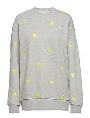 EMBROIDERED BOYFRIEND SWEAT - GREY HEATHER