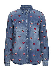 EMBROIDERED DENIM SHIRT - MID WASH BLUE