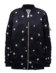 LONG LENGTH BOMBER JACKET STARS ALL OVER - DARK SAPPHIRE