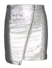 ASYMMETRIC ZIP MINI SKIRT - SILVER