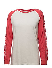 LINEN-BLEND LONG SLEEVE ROMANTIX - TOMATO/OPTICAL WHITE