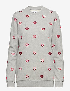 EMBROIDERED LOOSE FIT SWEAT - GREY HEATHER