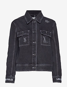 CROPPED WORKER JACKET - denim jackets - black rinse