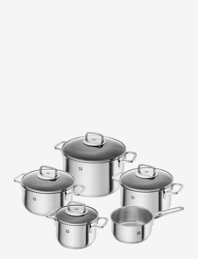 Pot set, 5-pcs - grytesett & kasserollesett - silver